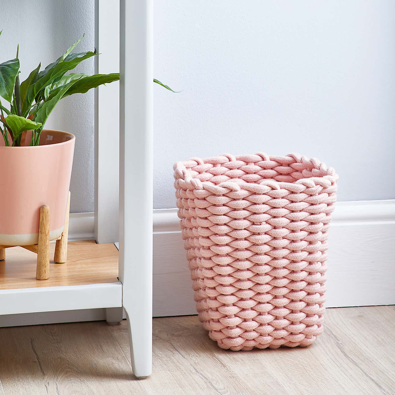 Blush Pink Knitted Waste Paper Bin